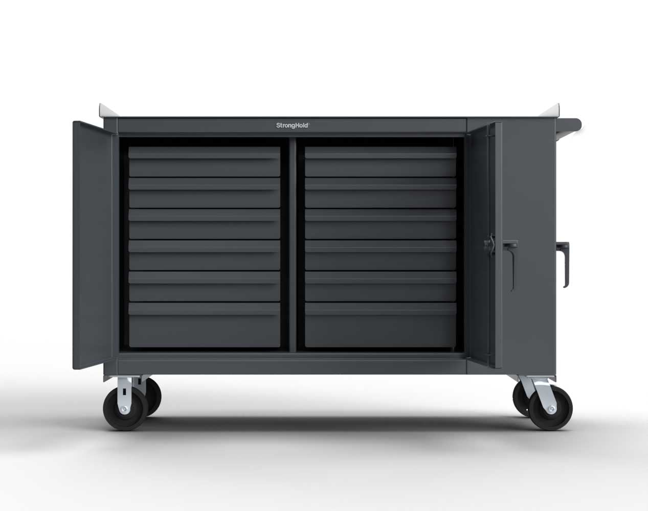 Extra Heavy Duty 12 GA Mobile Tool Cart with Multiple Compartments, 7 GA Steel Top, 12 Half-Width Drawers, 2 Shelves – 61 in. W x 24 in. D x 42 in. H