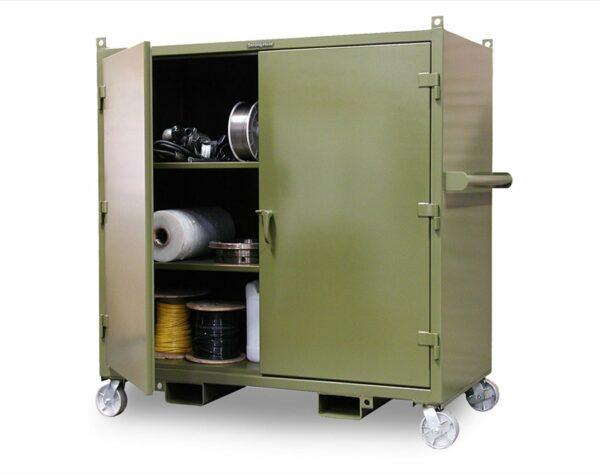 Mobile Jobsite Cabinet with Forklift Pockets