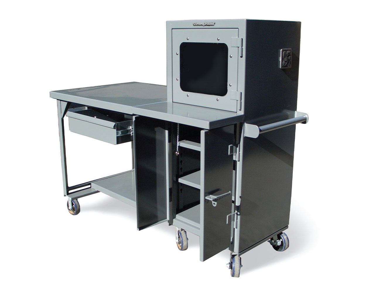 Extreme Duty 7 GA Mobile Industrial Shop Table with Computer Cabinet – 68 In. W x 36 In. D x 69 In. H