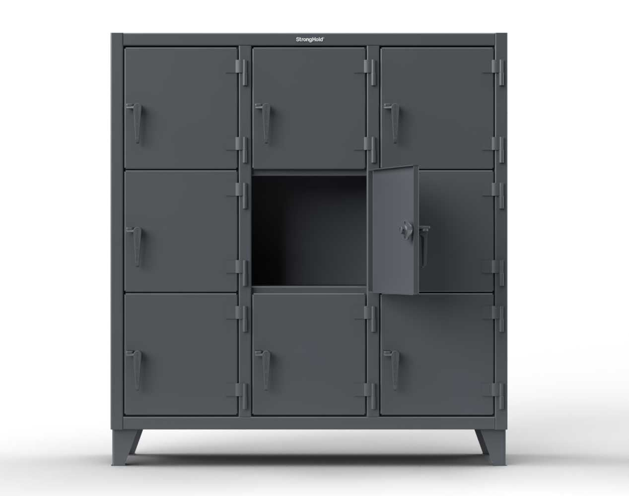 Extra Heavy Duty 12 GA Triple-Tier Locker with 12 Compartments, 82 in. W x 18in. D x 68 in. H