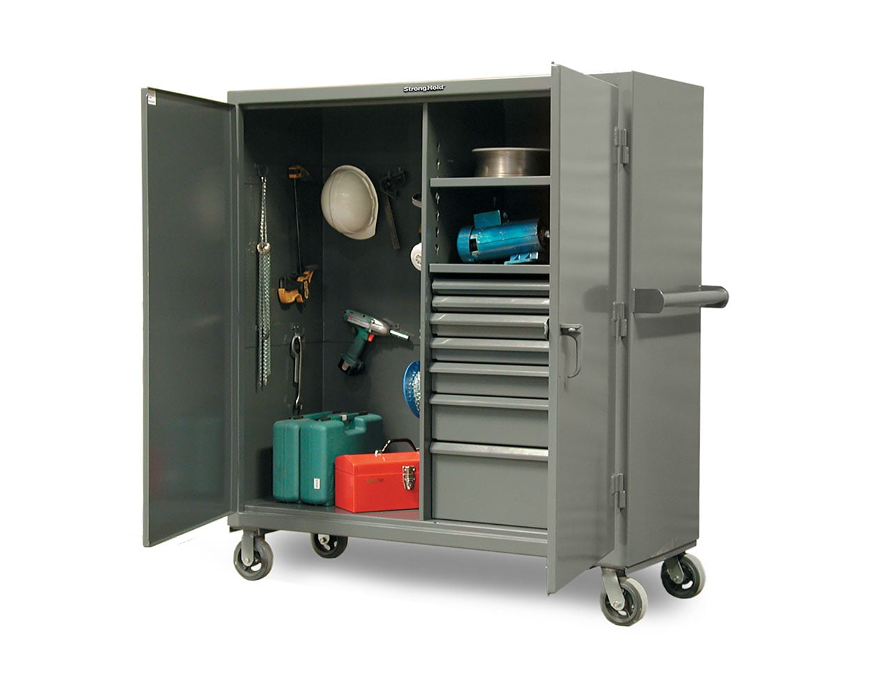 Extra Heavy Duty 12 GA Mobile Jobsite Cabinet with 7 Half-Width Drawers, 2 Shelves – 60 in. W x 24 in. D x 68 in. H