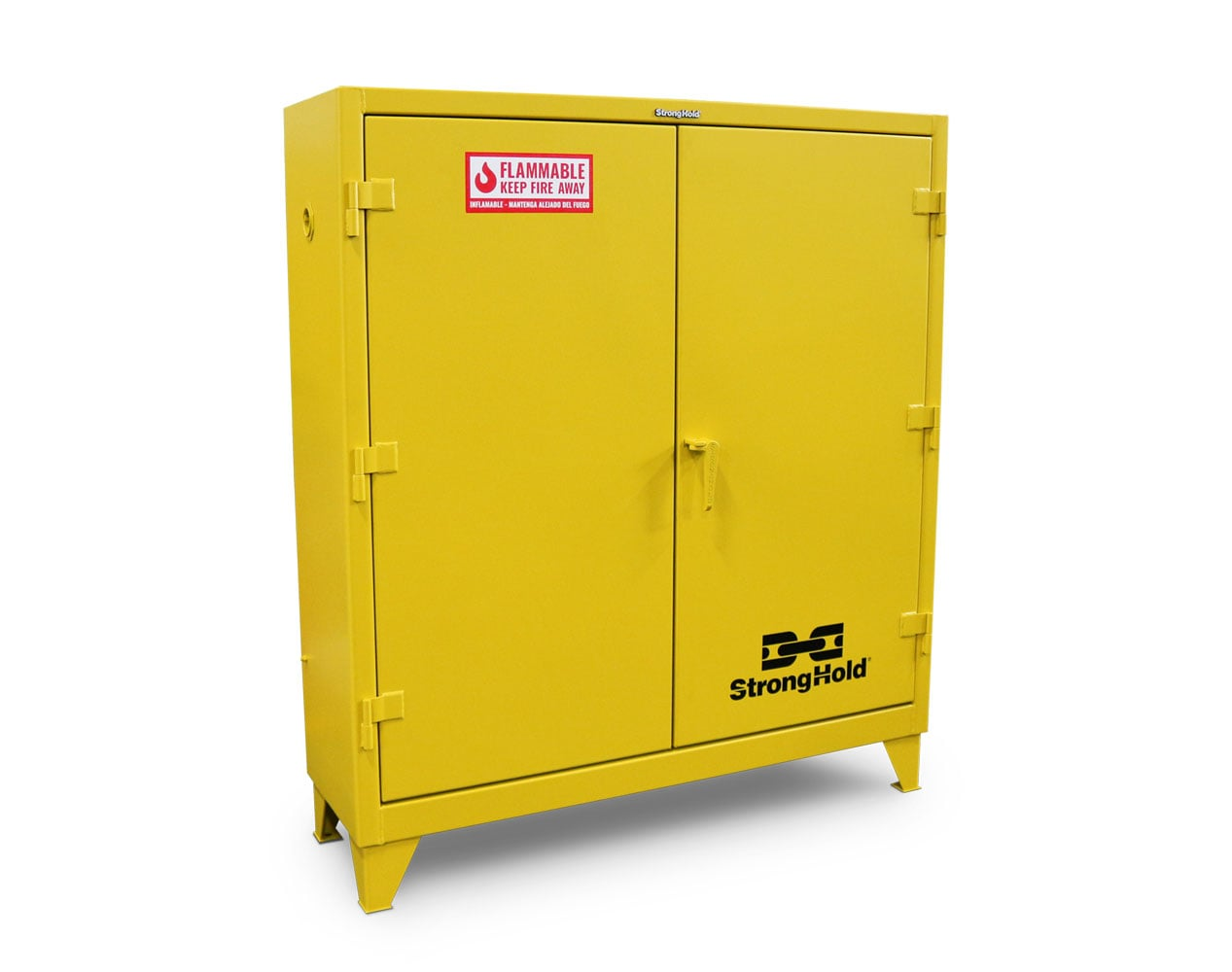 Extra Heavy Duty 12 GA 60 Gallon Flammable Safety Cabinet with Manual-Closing Doors, 2 Shelves – 58 In. W x 18 In. D x 66 In. H