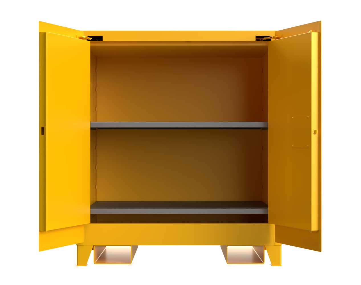 Extra Heavy Duty 14 GA 60 Gallon Flammable Safety Cabinet with Self-Closing Doors, 2 Shelves, Forklift Pockets – 43 In. W x 34 In. D x 49 In. H