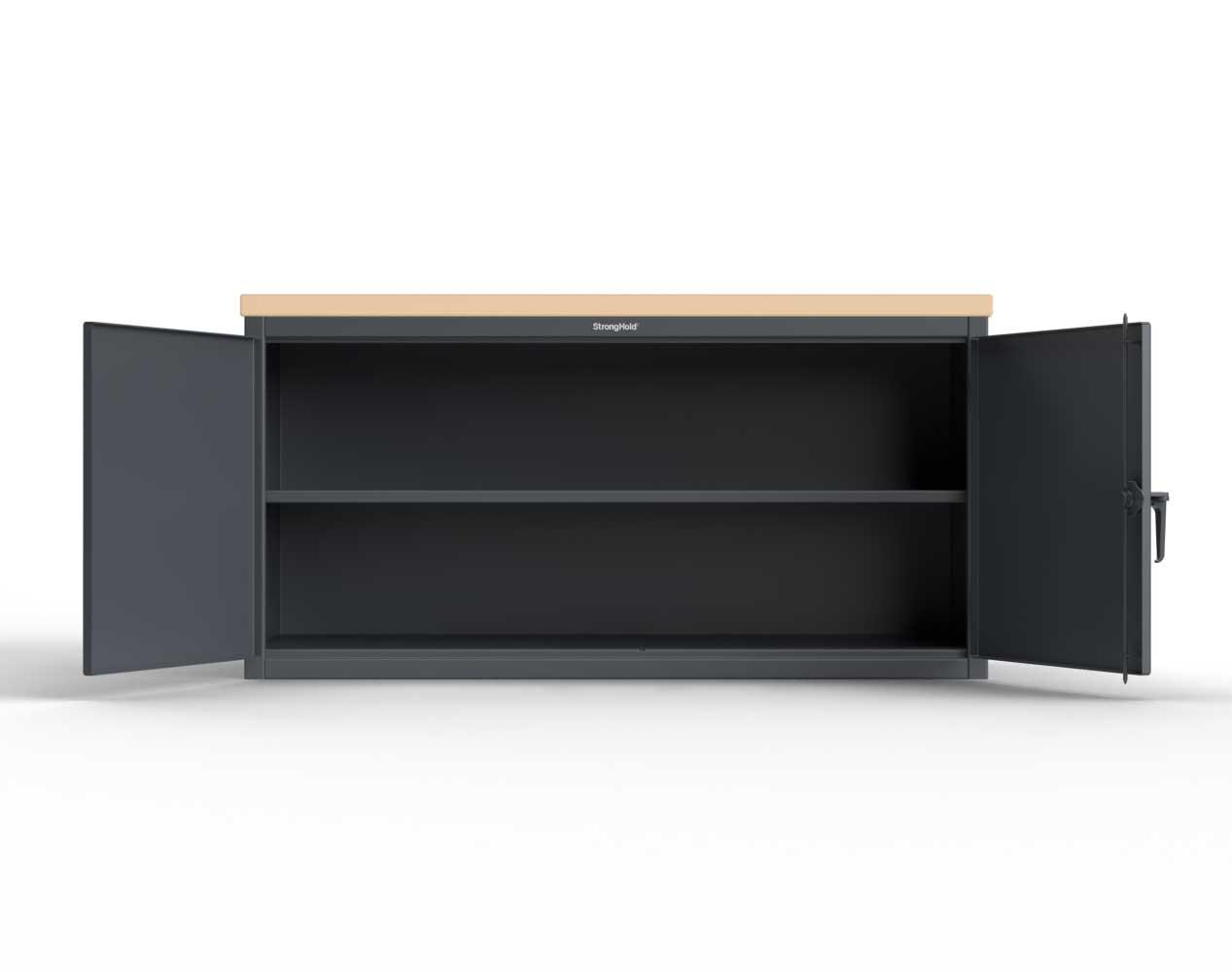 Extra Heavy Duty 12 GA Workbench with Maple Top, 1 Shelf – 96 In. W x 36 In. D x 37 In. H