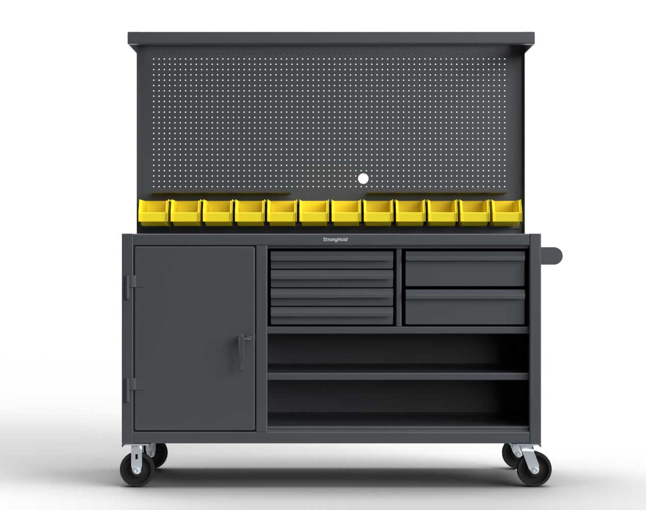 Extreme Duty 12 GA Mobile Workbench with Pegboard, 12 Bins, 6 Drawers, 3 Shelves – 72 In. W x 30 In. D x 80 In. H