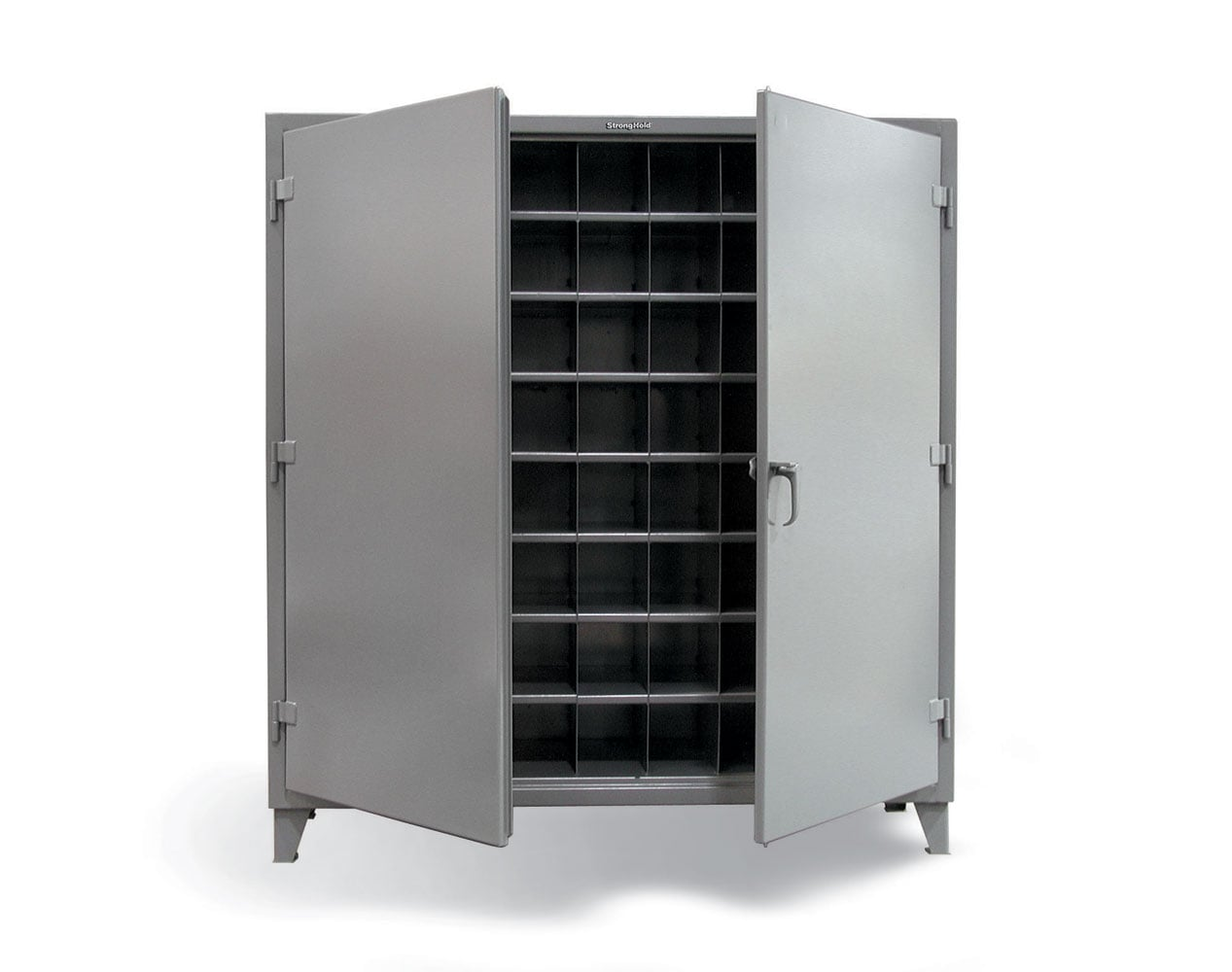 Extra Heavy Duty 12 GA Cabinet with 72 Pigeonhole Shelving – 72 in. W x 24 in. D x 78 in. H