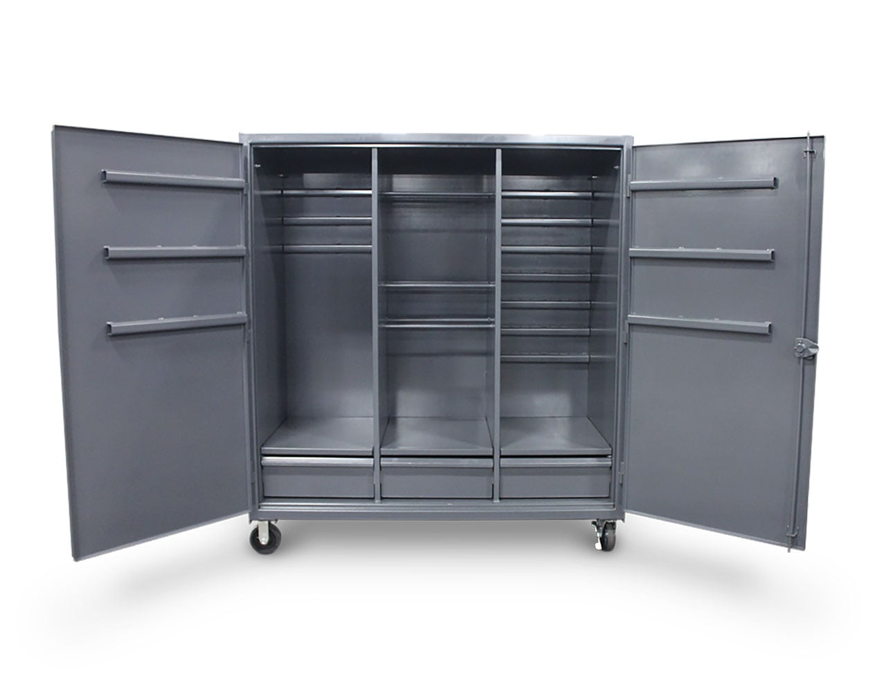Extra Heavy Duty 12 GA Mobile Cabinet with Welded Hooks, 3 Drawers, Hanger Rods – 72 in. W x 30 in. D x 80 in. H