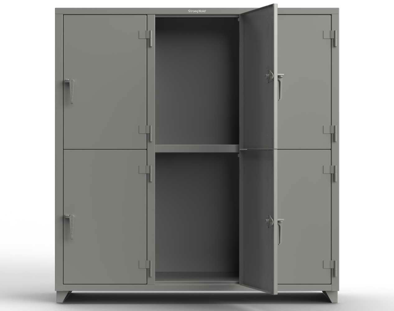 Extra Heavy Duty 14 GA Double-Tier Locker, 6 Compartments – 72 in. W x 24 in. D x 75 in. H