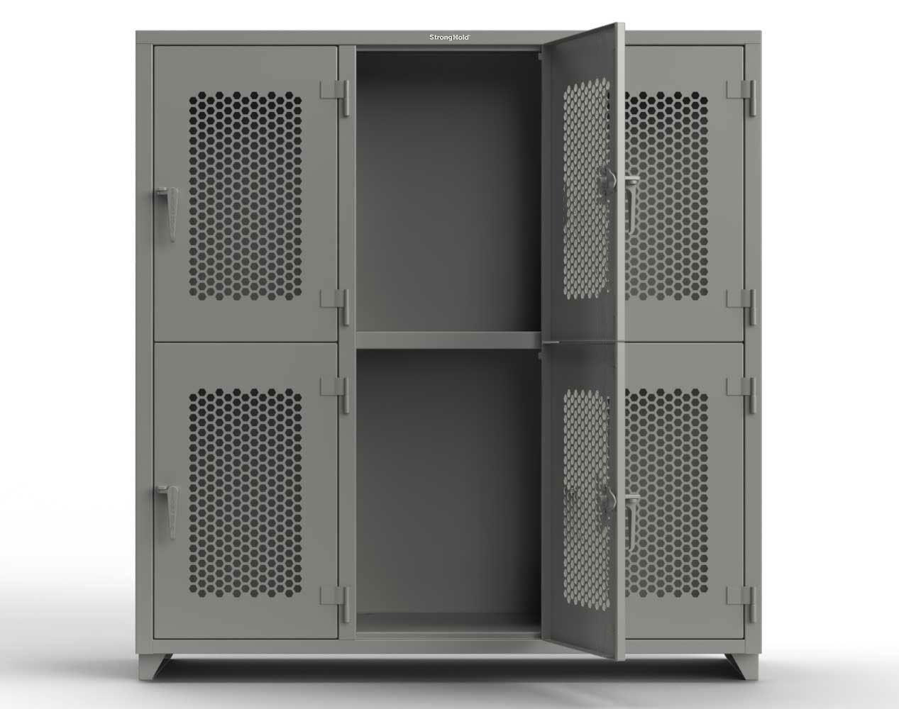 Extra Heavy Duty 14 GA Double-Tier Ventilated Locker, 6 Compartments – 72 in. W x 24 in. D x 75 in. H