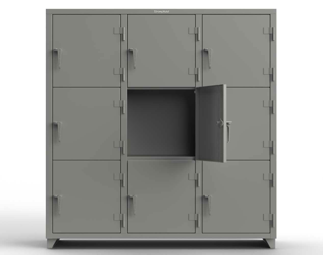 Extra Heavy Duty 14 GA Triple-Tier Locker, 9 Compartments – 72 in. W x 24 in. D x 75 in. H