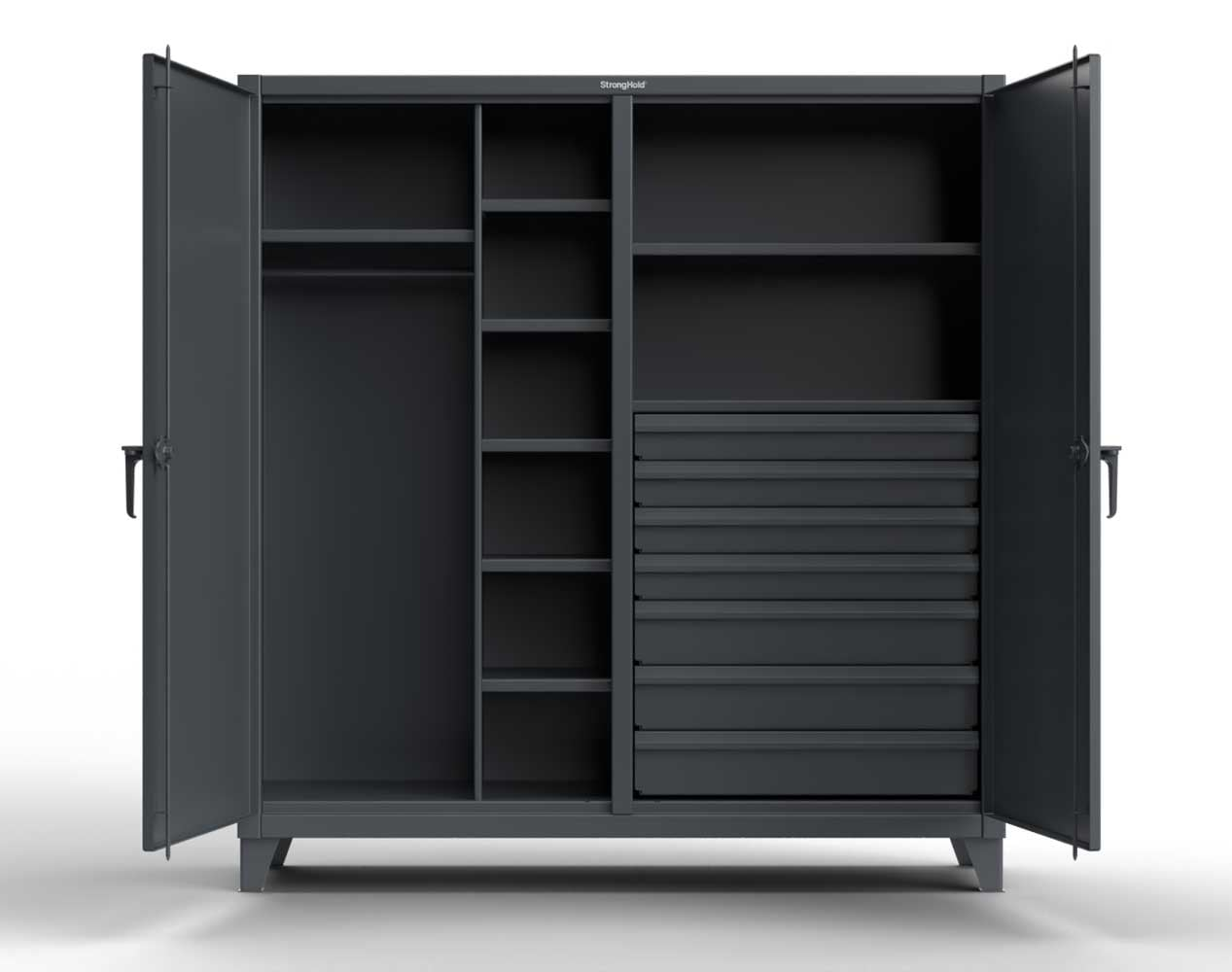 Extra Heavy Duty 12 GA Double Shift Uniform Cabinet with 7 Drawers, 7 Shelves – 72 In. W x 24 In. D x 78 In. H