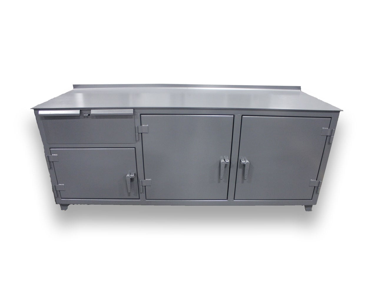 Extra Heavy Duty 12 GA Workbench with 1 Drawer, 3 Shelves – 96 In. W x 30 In. D x 34 In. H