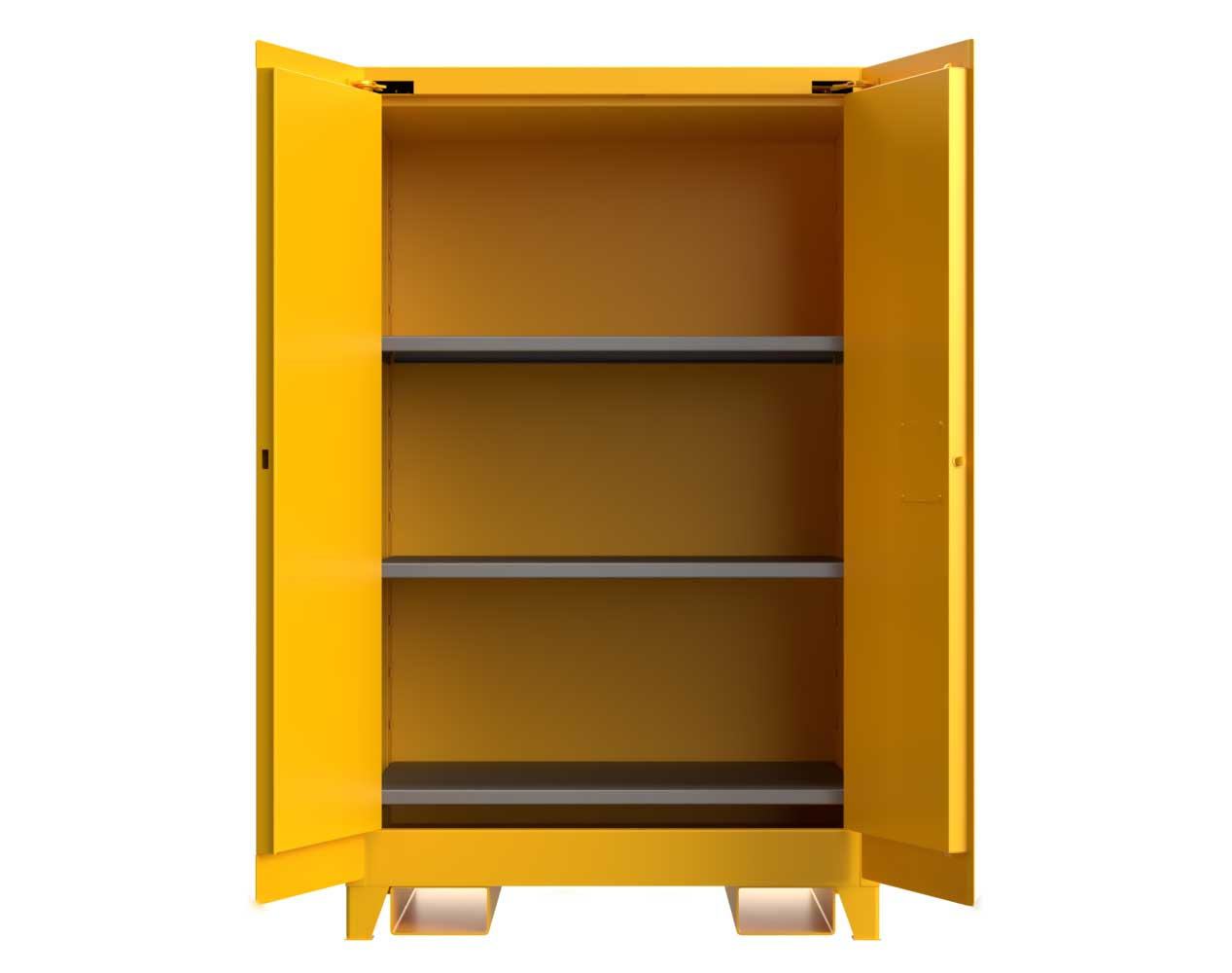 Heavy Duty 14 GA 90 Gallon Flammable Safety Cabinet with Manual-Closing Doors, 3 Shelves, Forklift Pockets – 43 In. W x 34 In. D x 70 In. H
