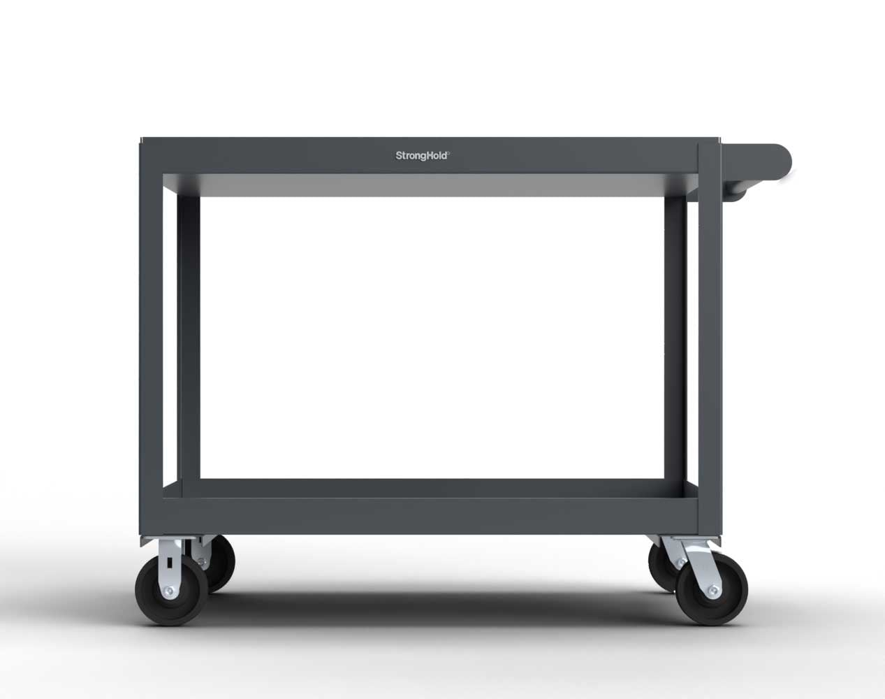 Extra Heavy Duty 12 GA Mobile Service Cart with 12 GA Steel Top, 2 Shelves – 36 in. W x 24 in. D x 40 in. H