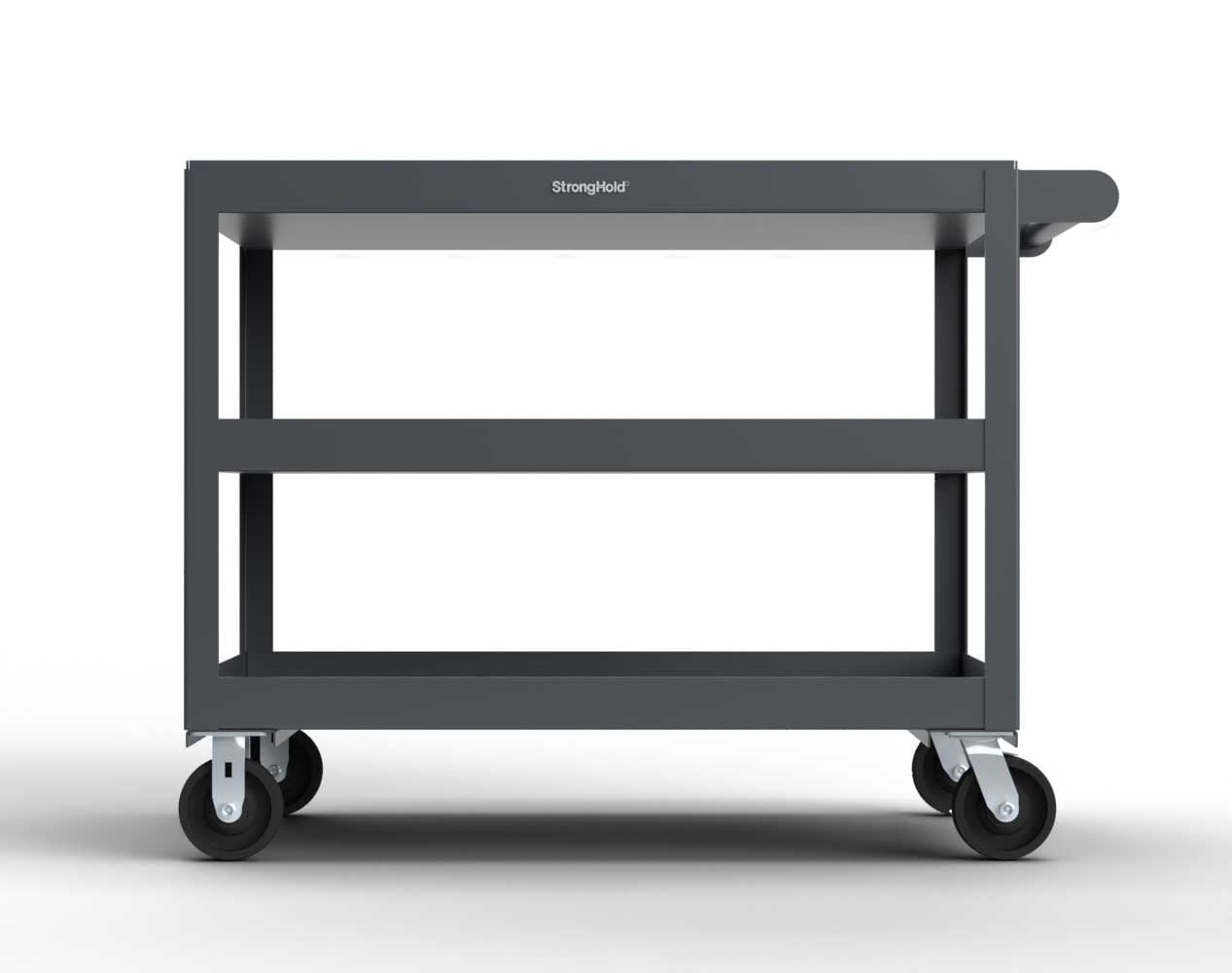 Extreme Duty 12 GA Mobile Service Cart with 12 GA Steel Top, 3 Shelves – 48 in. W x 32 in. D x 40 in. H