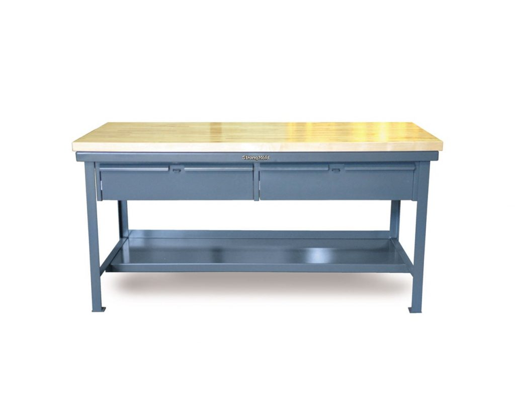 7 GA Industrial Shop Table with 2 Drawers and Maple Top