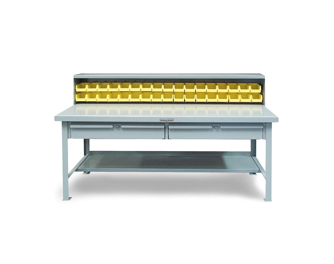 Extra Heavy Duty 7 GA Shop Table with Riser Shelf, 34 Bins, 2 Drawers – 72 In. W x 30 In. D x 48 In. H