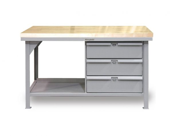 7 GA Industrial Shop Table with 3 Drawers and ABS Top