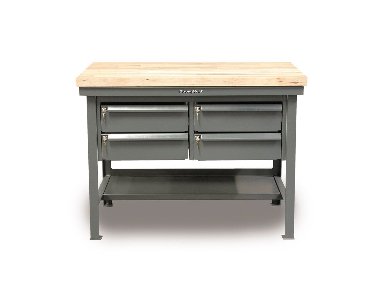Extra Heavy Duty 7 GA Shop Table with Maple Top, 4 Keylock Drawers, 1 Shelf – 72 In. W x 36 In. D x 34 In. H