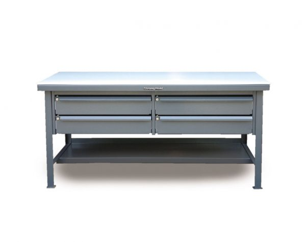 UHMW Top Shop Table with Keylock Drawers