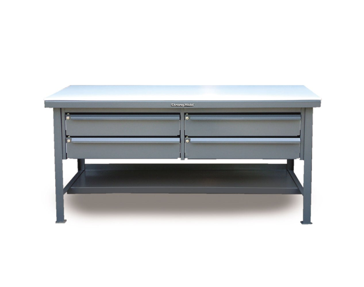 Extra Heavy Duty 7 GA Shop Table with UHMW Top, 4 Keylock Drawers, 1 Shelf – 72 In. W x 36 In. D x 34 In. H
