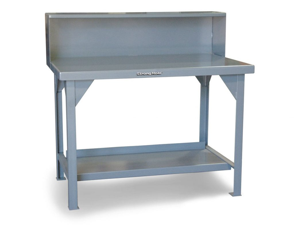 7 GA Industrial Shop Table with Riser Shelf