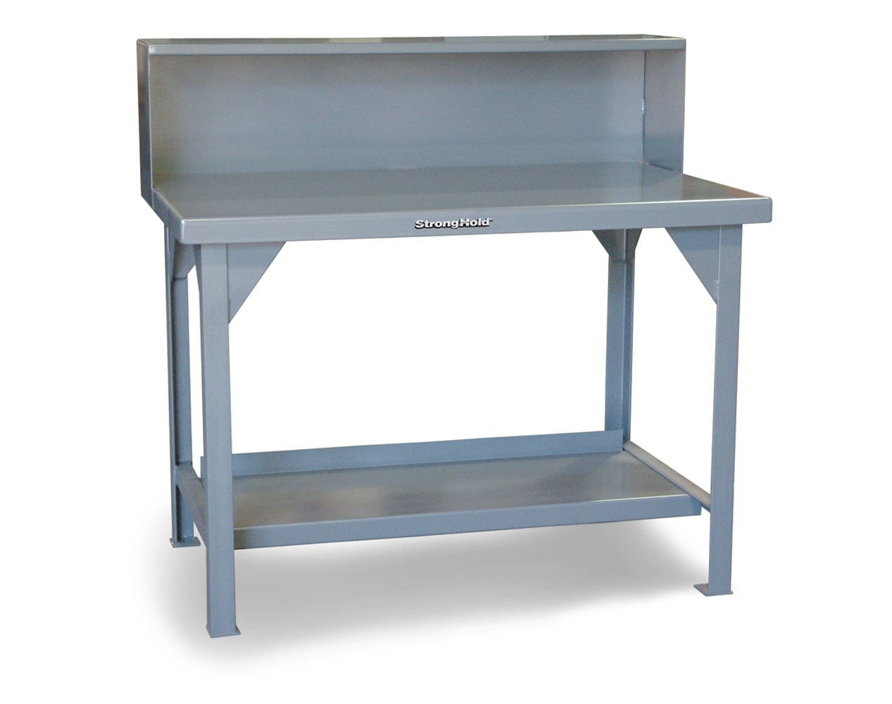 Extra Heavy Duty 7 GA Shop Table with Riser Shelf – 120 In. W x 36 In. D x 46 In. H