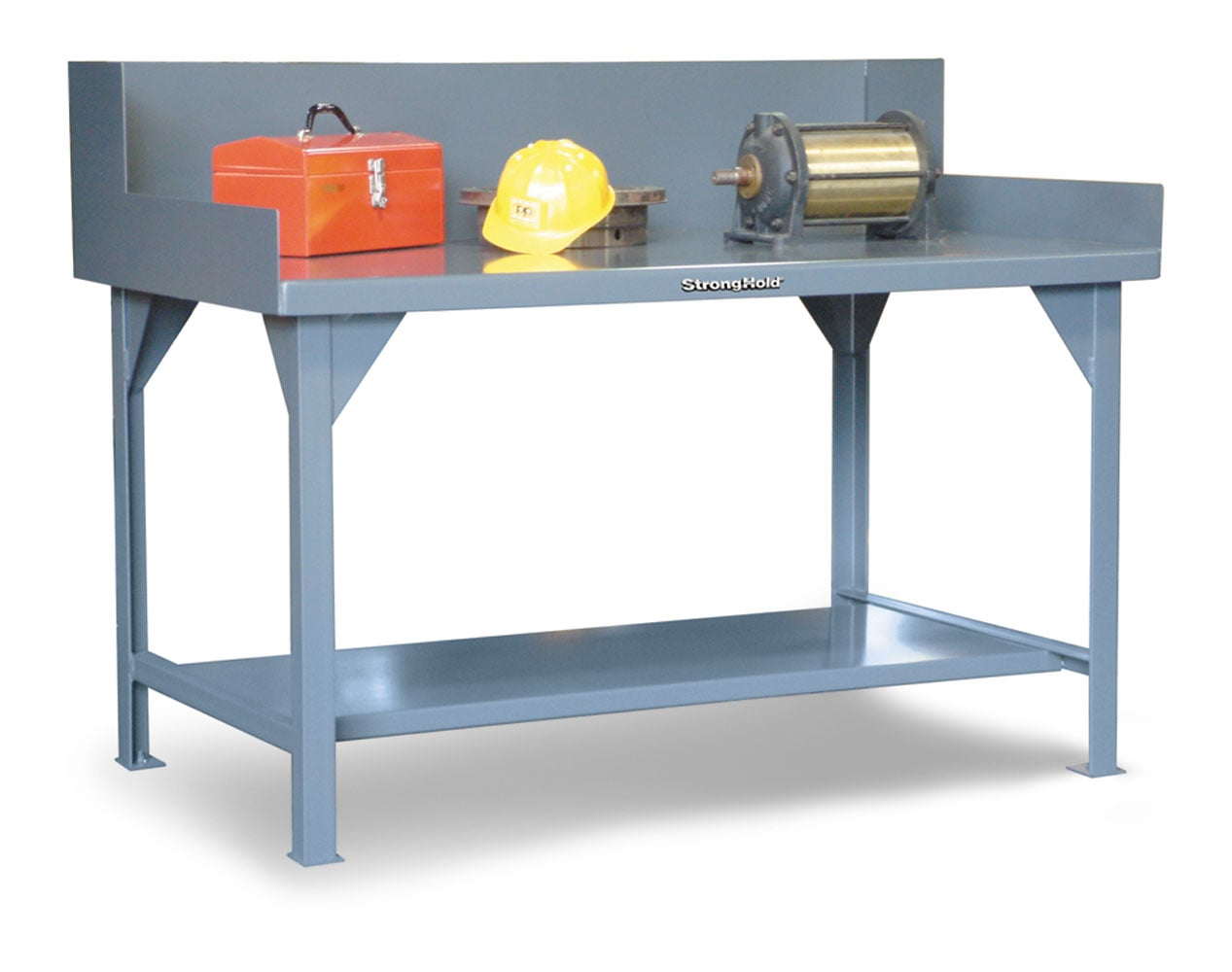 Extreme Duty 7 GA Shop Table with Side Guards, 2 Shelves – 2 In. W x 36 In. D x 46 In. H