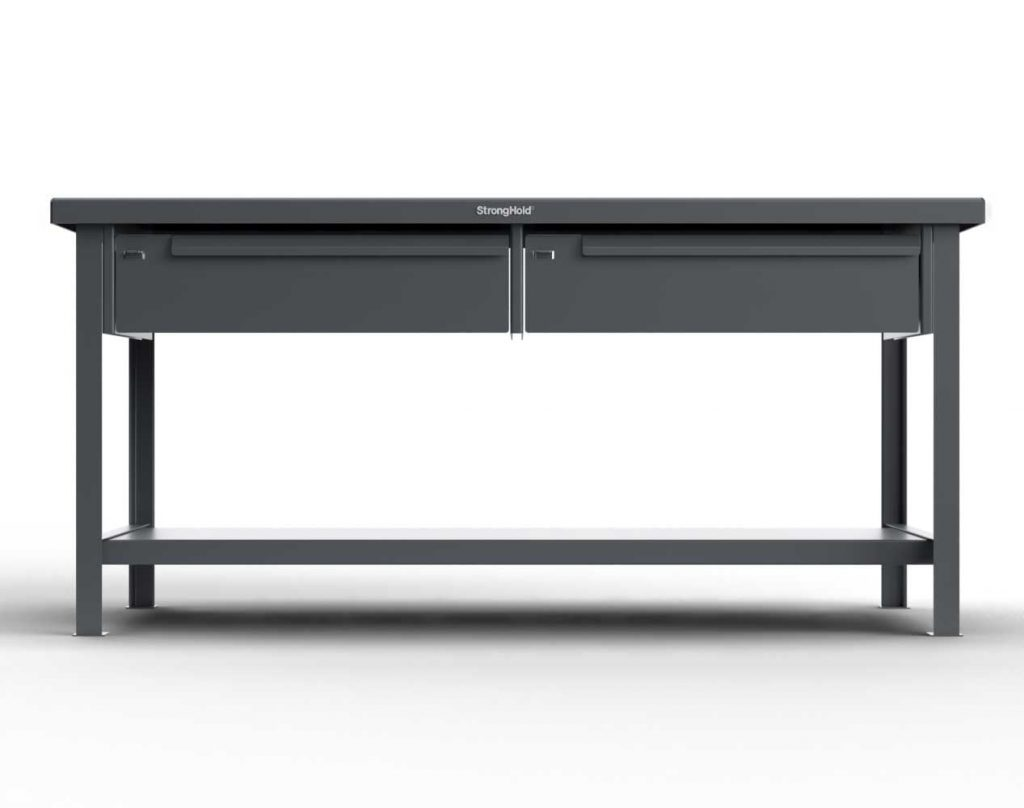 7 GA Industrial Shop Table with 2 Drawers and ABS Top