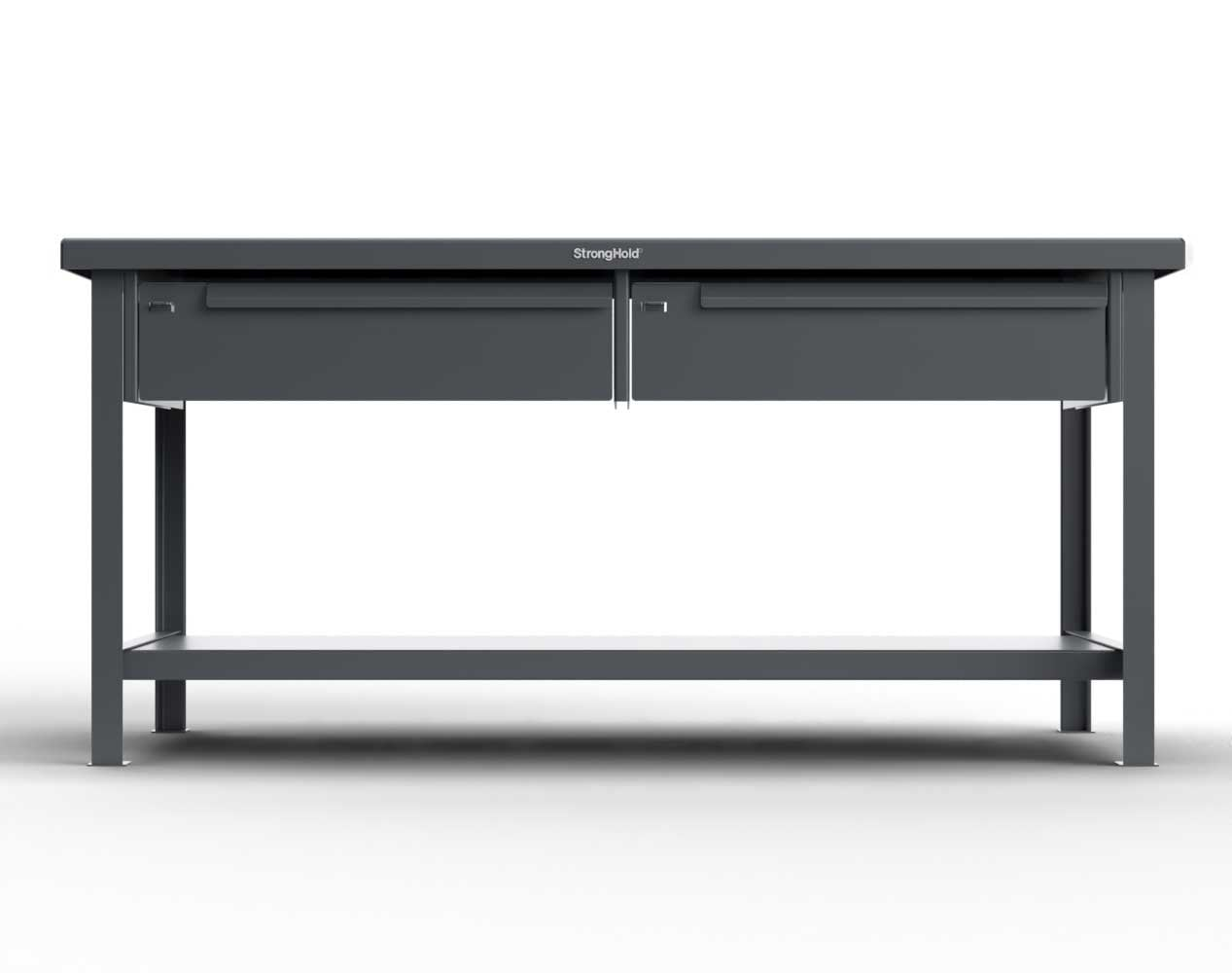 Extra Heavy Duty 7 GA Shop Table with UHMW Top, 2 Drawers, 1 Shelf – 48 In. W x 30 In. D x 34 In. H