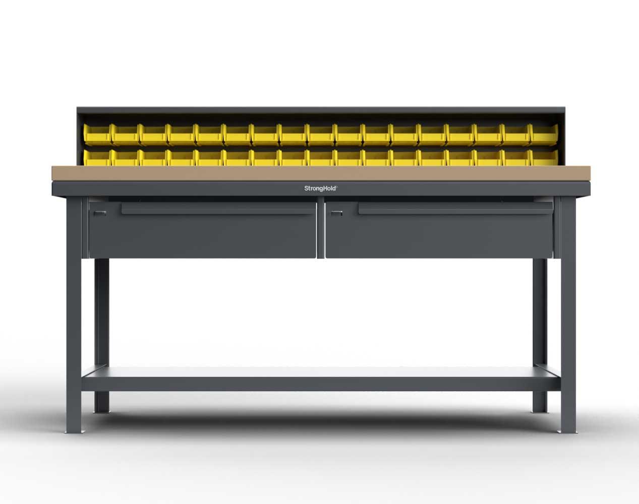 Extra Heavy Duty 7 GA Shop Table with Maple Top, 34 Bins, 2 Drawers, 1 Shelf, Riser Shelf – 72 In. W x 36 In. D x 34 In. H
