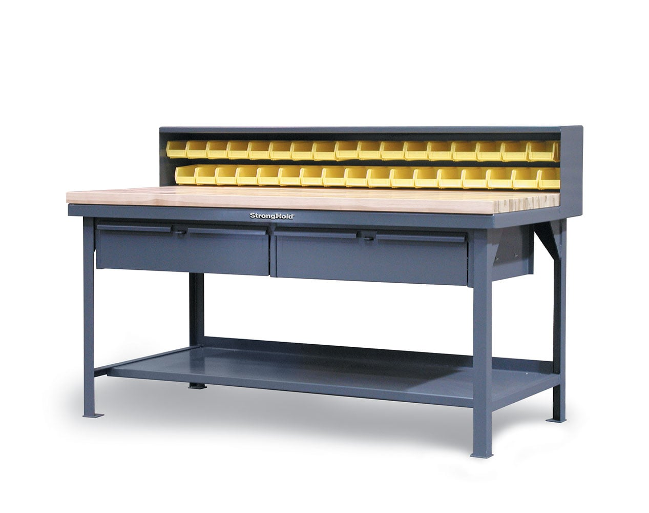 Extra Heavy Duty 7 GA Shop Table with Maple Top, Riser Shelf, 28 Bins, 2 Drawers – 60 In. W x 36 In. D x 48 In. H