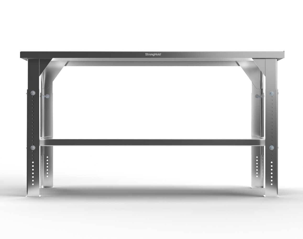 Extra Heavy Duty 7 GA Stainless Steel Shop Table, Adjustable Legs, 1 Shelf – 60 In. W x 36 In. D x 30-40 In. H