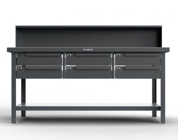ABS Top Shop Table with Drawers and Riser Shelf
