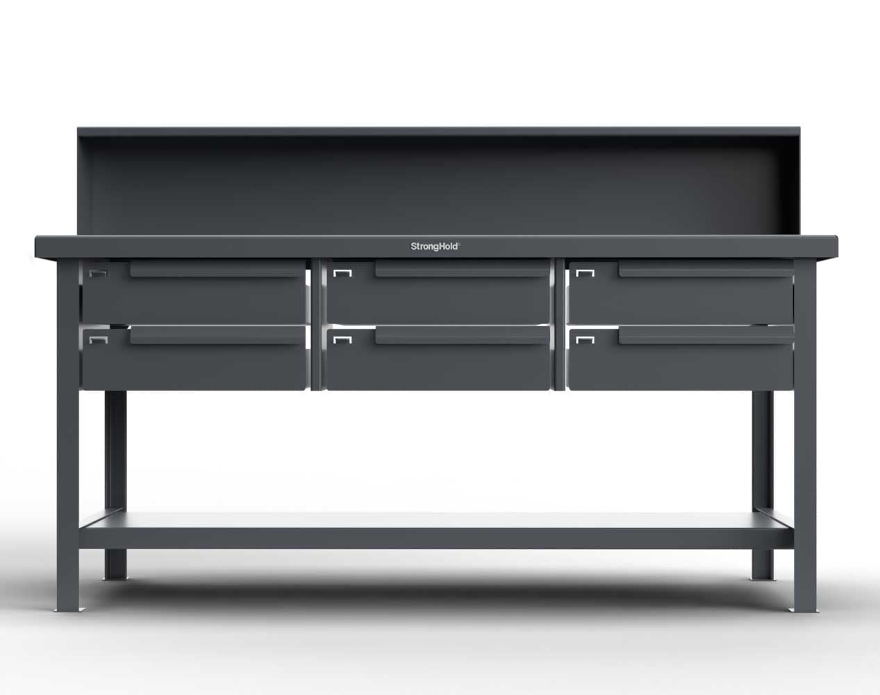 Extra Heavy Duty 7 GA Shop Table with 6 Drawers, 1 Shelf, Riser Shelf – 72 In. W x 36 In. D x 34 In. H