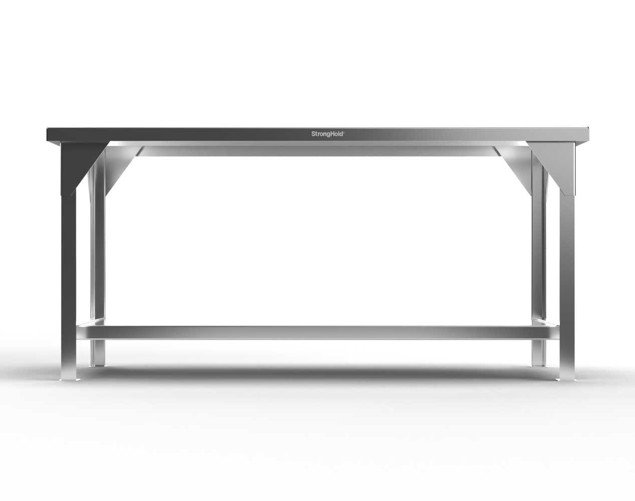 Extra Heavy Duty 7 GA Stainless Steel Shop Table, 1 Shelf – 60 In. W x 36 In. D x 34 In. H