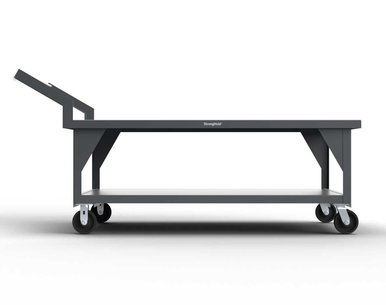 Extra Heavy Duty 7 GA Mobile Shop Table with 1 Shelf  – 72 In. W x 52 In. D x 38 In. H