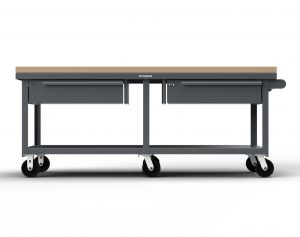 7 GA Industrial Mobile Shop Table with 1 3/4 in. Maple Top